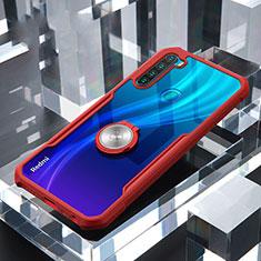 Funda Bumper Silicona Transparente Espejo 360 Grados con Magnetico Anillo de dedo Soporte para Xiaomi Redmi Note 8 Rojo