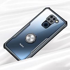 Funda Bumper Silicona Transparente Espejo 360 Grados con Magnetico Anillo de dedo Soporte para Xiaomi Redmi Note 9 Negro