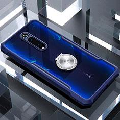 Funda Bumper Silicona Transparente Espejo 360 Grados con Magnetico Anillo de dedo Soporte T01 para Xiaomi Mi 9T Pro Azul