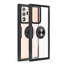 Funda Bumper Silicona Transparente Espejo 360 Grados con Magnetico Anillo de dedo Soporte T02 para Samsung Galaxy Note 20 Ultra 5G Negro