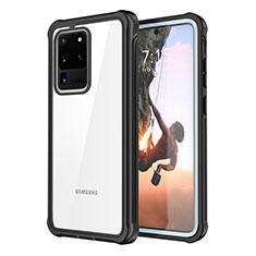 Funda Bumper Silicona Transparente Espejo 360 Grados para Samsung Galaxy S20 Ultra Negro