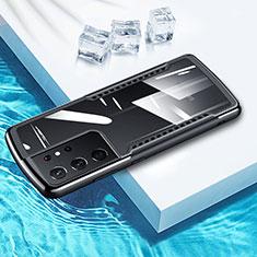 Funda Bumper Silicona Transparente Espejo 360 Grados para Samsung Galaxy S21 Ultra 5G Negro