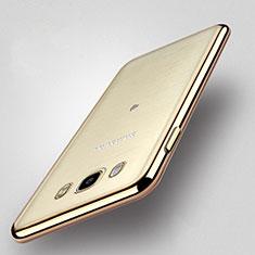 Funda Bumper Silicona Transparente Mate para Samsung Galaxy J5 Duos (2016) Oro