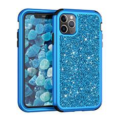Funda Bumper Silicona y Plastico Carcasa Frontal y Trasera 360 Grados Bling-Bling para Apple iPhone 11 Pro Max Azul