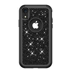 Funda Bumper Silicona y Plastico Carcasa Frontal y Trasera 360 Grados Bling-Bling para Apple iPhone XR Negro