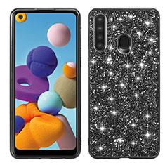 Funda Bumper Silicona y Plastico Carcasa Frontal y Trasera 360 Grados Bling-Bling para Samsung Galaxy A21 Negro
