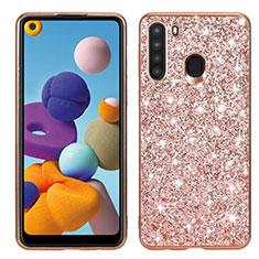 Funda Bumper Silicona y Plastico Carcasa Frontal y Trasera 360 Grados Bling-Bling para Samsung Galaxy A21 Oro Rosa