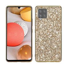 Funda Bumper Silicona y Plastico Carcasa Frontal y Trasera 360 Grados Bling-Bling para Samsung Galaxy A42 5G Oro