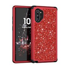 Funda Bumper Silicona y Plastico Carcasa Frontal y Trasera 360 Grados Bling-Bling para Samsung Galaxy Note 10 Plus 5G Rojo