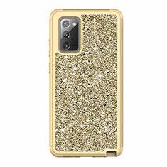 Funda Bumper Silicona y Plastico Carcasa Frontal y Trasera 360 Grados Bling-Bling para Samsung Galaxy Note 20 5G Oro