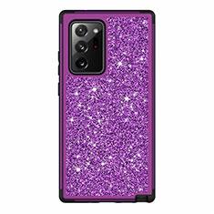 Funda Bumper Silicona y Plastico Carcasa Frontal y Trasera 360 Grados Bling-Bling para Samsung Galaxy Note 20 Ultra 5G Morado