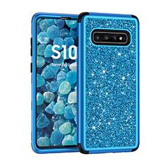 Funda Bumper Silicona y Plastico Carcasa Frontal y Trasera 360 Grados Bling-Bling para Samsung Galaxy S10 Plus Azul