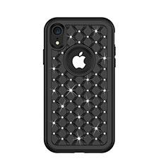 Funda Bumper Silicona y Plastico Carcasa Frontal y Trasera 360 Grados Bling-Bling U01 para Apple iPhone XR Negro