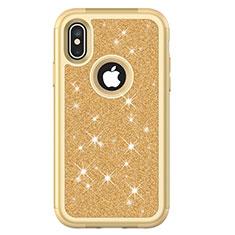 Funda Bumper Silicona y Plastico Carcasa Frontal y Trasera 360 Grados Bling-Bling U01 para Apple iPhone Xs Oro