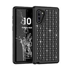 Funda Bumper Silicona y Plastico Carcasa Frontal y Trasera 360 Grados Bling-Bling U01 para Samsung Galaxy Note 10 5G Negro