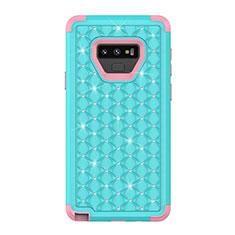 Funda Bumper Silicona y Plastico Carcasa Frontal y Trasera 360 Grados Bling-Bling U01 para Samsung Galaxy Note 9 Cian