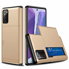 Funda Bumper Silicona y Plastico Carcasa Frontal y Trasera 360 Grados N01 para Samsung Galaxy Note 20 5G Oro