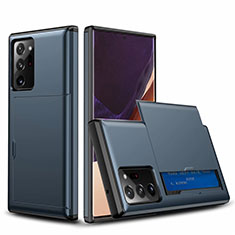 Funda Bumper Silicona y Plastico Carcasa Frontal y Trasera 360 Grados N01 para Samsung Galaxy Note 20 Ultra 5G Azul