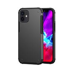Funda Bumper Silicona y Plastico Carcasa Frontal y Trasera 360 Grados para Apple iPhone 12 Mini Negro