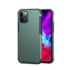 Funda Bumper Silicona y Plastico Carcasa Frontal y Trasera 360 Grados para Apple iPhone 12 Pro Max Verde Noche