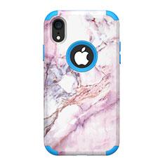 Funda Bumper Silicona y Plastico Carcasa Frontal y Trasera 360 Grados para Apple iPhone XR Azul
