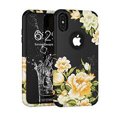 Funda Bumper Silicona y Plastico Carcasa Frontal y Trasera 360 Grados para Apple iPhone Xs Negro