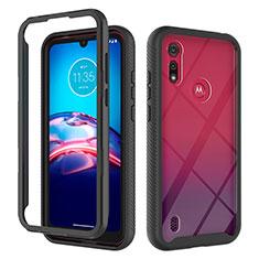 Funda Bumper Silicona y Plastico Carcasa Frontal y Trasera 360 Grados para Motorola Moto E6s (2020) Negro