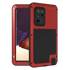 Funda Bumper Silicona y Plastico Carcasa Frontal y Trasera 360 Grados para Samsung Galaxy Note 20 Ultra 5G Rojo