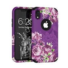 Funda Bumper Silicona y Plastico Carcasa Frontal y Trasera 360 Grados U01 para Apple iPhone XR Morado