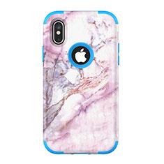 Funda Bumper Silicona y Plastico Carcasa Frontal y Trasera 360 Grados U01 para Apple iPhone Xs Azul