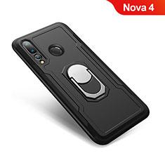 Funda Bumper Silicona y Plastico Mate Carcasa con Anillo de dedo Soporte A01 para Huawei Nova 4 Negro