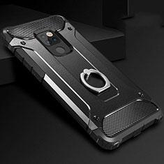Funda Bumper Silicona y Plastico Mate Carcasa con Anillo de dedo Soporte H01 para Huawei Mate 20 Negro
