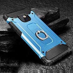 Funda Bumper Silicona y Plastico Mate Carcasa con Anillo de dedo Soporte H01 para Huawei Mate 20 Pro Azul