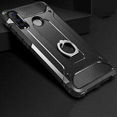 Funda Bumper Silicona y Plastico Mate Carcasa con Anillo de dedo Soporte H01 para Huawei P30 Lite Negro