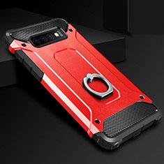 Funda Bumper Silicona y Plastico Mate Carcasa con Anillo de dedo Soporte H01 para Samsung Galaxy S10 Rojo