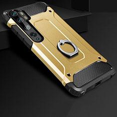 Funda Bumper Silicona y Plastico Mate Carcasa con Anillo de dedo Soporte H01 para Xiaomi Mi Note 10 Pro Oro