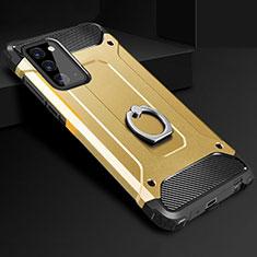 Funda Bumper Silicona y Plastico Mate Carcasa con Anillo de dedo Soporte N01 para Samsung Galaxy Note 20 5G Oro