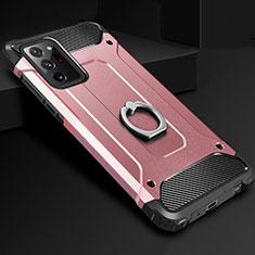 Funda Bumper Silicona y Plastico Mate Carcasa con Anillo de dedo Soporte N01 para Samsung Galaxy Note 20 Ultra 5G Oro Rosa