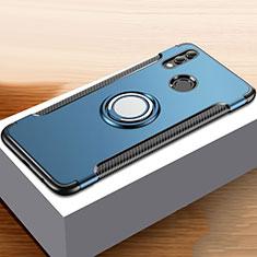 Funda Bumper Silicona y Plastico Mate Carcasa con Anillo de dedo Soporte para Huawei Honor 10 Lite Azul