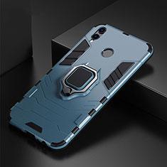 Funda Bumper Silicona y Plastico Mate Carcasa con Anillo de dedo Soporte para Huawei P Smart (2019) Azul