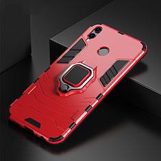 Funda Bumper Silicona y Plastico Mate Carcasa con Anillo de dedo Soporte para Huawei P Smart (2019) Rojo