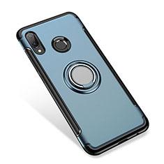 Funda Bumper Silicona y Plastico Mate Carcasa con Anillo de dedo Soporte para Huawei P Smart+ Plus Azul