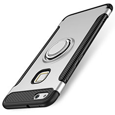 Funda Bumper Silicona y Plastico Mate Carcasa con Anillo de dedo Soporte para Huawei P10 Lite Plata