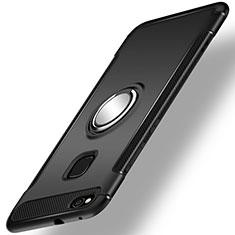 Funda Bumper Silicona y Plastico Mate Carcasa con Anillo de dedo Soporte para Huawei P9 Lite (2017) Negro