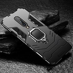 Funda Bumper Silicona y Plastico Mate Carcasa con Anillo de dedo Soporte para OnePlus 7 Pro Negro