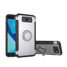 Funda Bumper Silicona y Plastico Mate Carcasa con Anillo de dedo Soporte para Samsung Galaxy J5 (2017) Version Americaine Plata