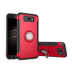 Funda Bumper Silicona y Plastico Mate Carcasa con Anillo de dedo Soporte para Samsung Galaxy J5 (2017) Version Americaine Rojo