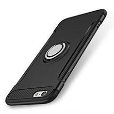 Funda Bumper Silicona y Plastico Mate Carcasa con Anillo de dedo Soporte S01 para Apple iPhone 7 Negro