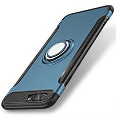 Funda Bumper Silicona y Plastico Mate Carcasa con Anillo de dedo Soporte S01 para Apple iPhone 8 Plus Azul