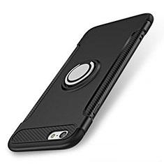 Funda Bumper Silicona y Plastico Mate Carcasa con Anillo de dedo Soporte S01 para Apple iPhone SE (2020) Negro